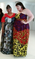 Jamilyn, blogger at Style Over Size, and Amber, blogger at Style Plus Curves, trying on dresses from Obioma Fashion